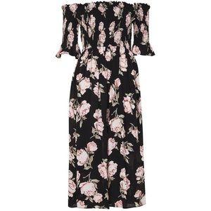 Topshop Off the Shoulder Floral Midi Dress
